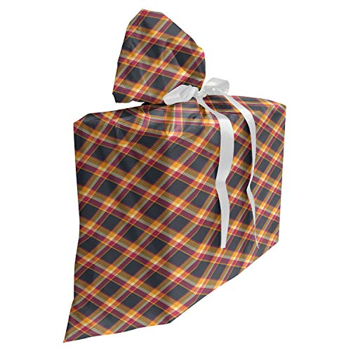 ABAKUHAUS Schotse ruit Cadeautas voor Baby Shower Feestje, British Country Style, Herbruikbare Stoffen Tas met 3 Linten, 70 cm x 80 cm, Charcoal Grey Marigold