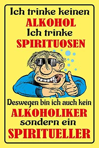 Schatzmix spreuk alcohol ich trinke sterke drank metalen bord 20x30 cm wanddecoratie tin sign blikken bord, blik, meerkleurig