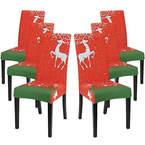 IVYSHION Funda de silla extensible estampada para comedor, terciopelo extraíble, lavable, revestimiento de silla para ramo casa/boda reunión