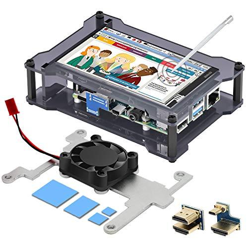 iuniker Raspberry Pi 4 Touchscreen Gehäuse, Raspberry Pi 4 Bildschirm 4 Zoll Display Monitor mit Kühlkörper und Lüfter Gehäuse, 60 fps Monitor mit 840 x 400 Auflösung Bessere Wärme Ableitung