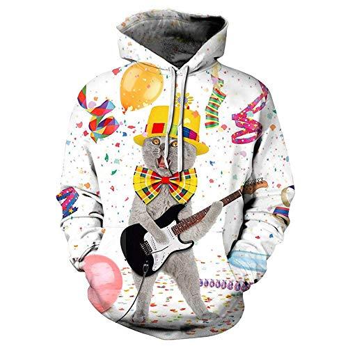 ASDFGG-hm Hoodie Herren Paar Hoodie 3D Christmas Gitarre KatzeHoodie Kühle Neuheit Pullover Kapuzen-Sweatshirt (Farbe : Weiß, Größe : XL)