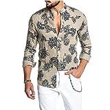 Europa y América Camisas de Vestir para Hombre Camisa Estampada Funky de Manga Larga Camisa Casual Tops Florales Elegantes Patrón único L
