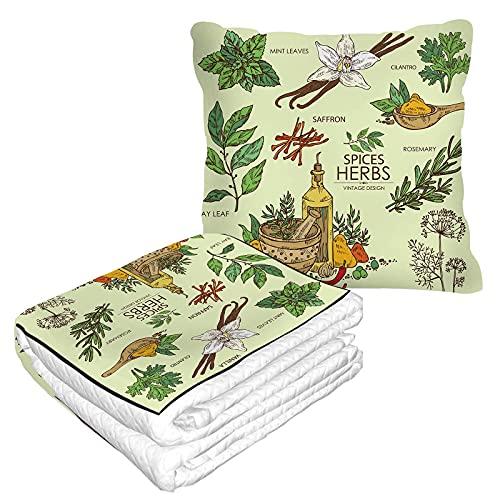 Herbs Spice - Manta de viaje en bolsa suave, funda de almohadas, diseño vintage, color verde, vainilla, menta, hoja de laurel, cilantro, eneldo, azafrán, manta cálida, cojín para el hogar y la oficina