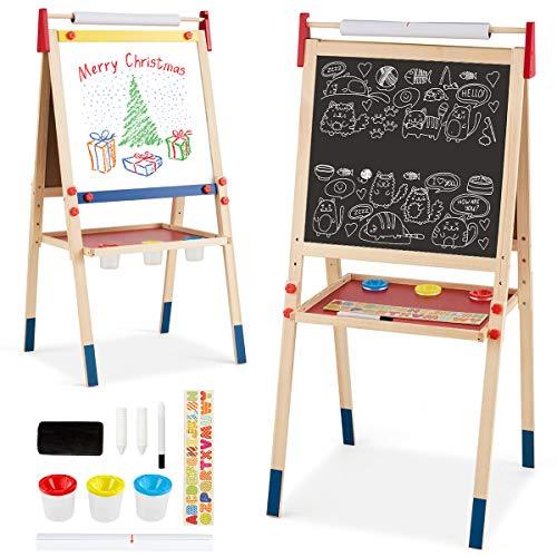 COSTWAY 3 in 1 Kinder Staffelei, Kindertafel doppelseitig, Whiteboard & Kreidetafel & Zeichenpapier, Standtafel, Spieltafel, Holztafel, höhenverstellbar, inkl. Zubehör (Modell 1)