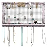 Comfify Rustic Jewelry Organizer – Wall Mounted Jewelry Holder w/Removable Bracelet Rod, Shelf & 16 Hooks – Perfect Earrings, Necklaces & Bracelets Holder – Rustic White