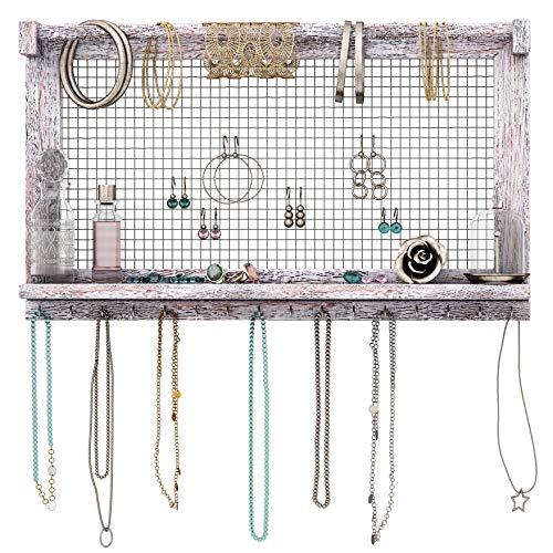 Rustic Jewelry Organizer – Wall Mounted Jewelry Holder w/ Removable Bracelet Rod Shelf amp 16 Hooks – Perfect Earrings Necklaces amp Bracelets Holder – Rustic White