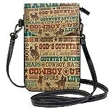 XCNGG Monedero pequeño para teléfono celular Cowboy Cell Phone Purse Wallet for Women Girl Small Crossbody Purse Bags