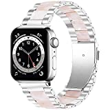 Miimall Cinturino Lusso Compatibile con Apple Watch Series 1/2/3/4/5/6/SE 40mm 38mm Cinturino in Acciaio Inossidabile + Resina per iWatch Series 1/2/3/4/5/6 40mm 38mm -Argento/Resina Rosa