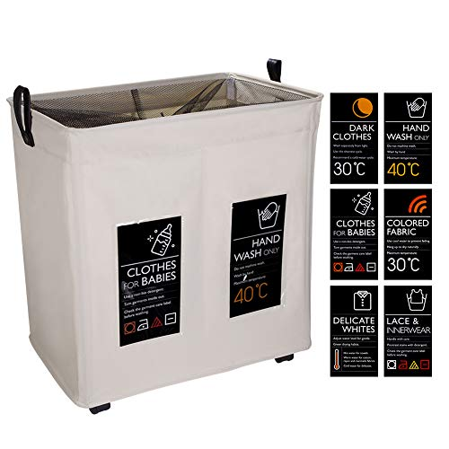 IHOMAGIC Large 2 Sections Foldable Laundry Basket with Wheels Waterproof...