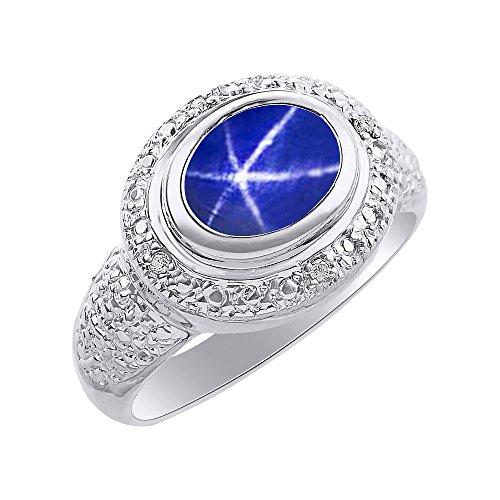 Juego de anillos de zafiro de estrella azul y diamante en oro blanco de 14 quilates – Halo de diamante – piedra de color piedra de nacimiento anillo