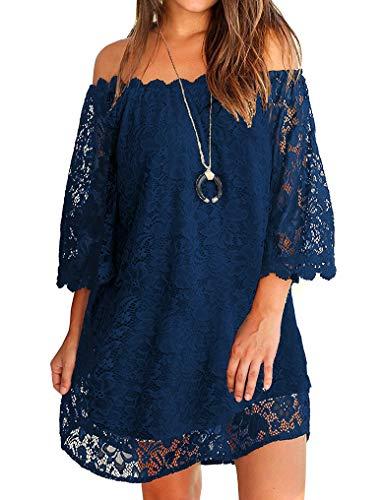 OURS Womens Summer Dress Off Shoulder Comfy Floral Lace Dresses Navy Blue M