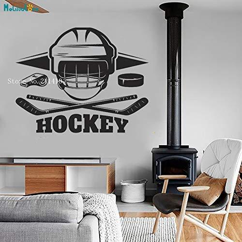Hockey Extremsport Eishockey Helm Aufkleber Benutzerdefinierte Wandtattoo Aufkleber Wohnzimmer Schlafzimmer Teen Schlafzimmer Vinyl Sport Kreative Kunst Wandbild 53X42Cm