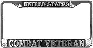 TAG FRAMES (MILITARY) United States Combat Veteran License Plate Frame (Chrome Metal)