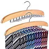 Ohuhu 24 estante de corbata madera, percha corbatero madera ganchos de metal organizador - 2 piezas