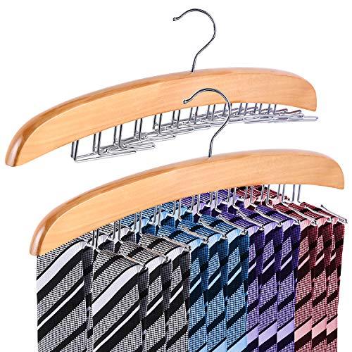 Ohuhu Hochwertiger Krawattenhalter Gürtel Schals Zubehöre Aufbewahrung für Kleiderschrank - Drehbar Beweglich 24 Haken aus Holz - 2 Stück