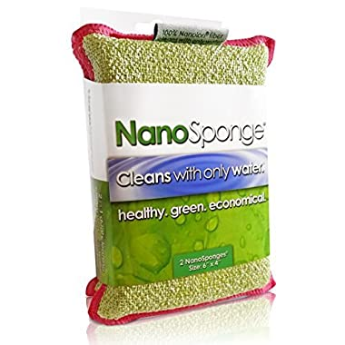 Nano Sponge Cleaning Sponges. Supersized Everyday Heavy Duty Household Kitchen and Dish Sponge. 2 pack. 6 x 4  (6x4)
