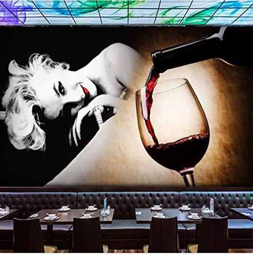 XCHBH behang zelfklevend behang wandschilderijen 3D wandposter retro Europese vrouwelijke sterren karakters rode wijn muurkunst groot fotobehang jongens slaapkamer kinderen interieur kunst 520x290 cm (BxH) 11 Streifen - selbstklebend