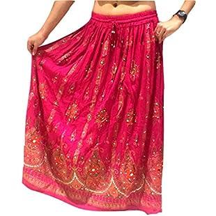 Customer reviews Pink Ladies Indian Boho Hippie Gypsy Sequin Summer Sundress Maxi Skirt UK 8-14:Dailyvideo