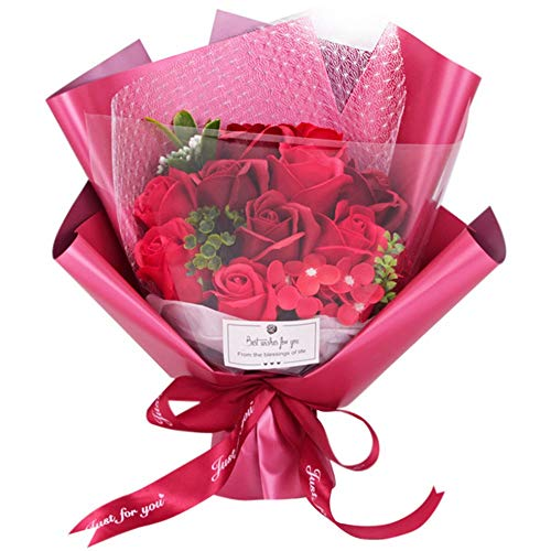 Purely Muttertag Nelke Rose Seife Blumenstrauß Geschenkbox Kreative Geschenksimulation (Color : Red)