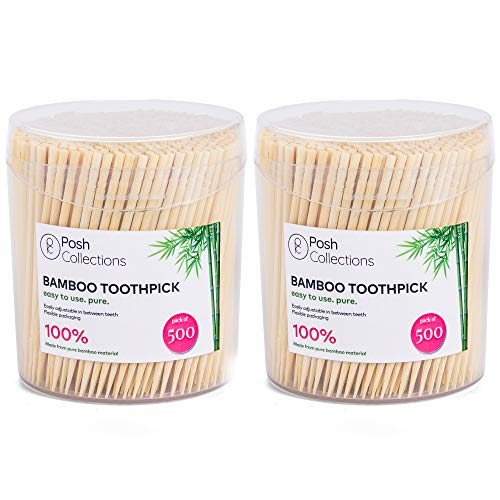 Posh Collection Bamboo Toothpicks Single Sided Wooden Toothpicks 1000-Piece Sturdy