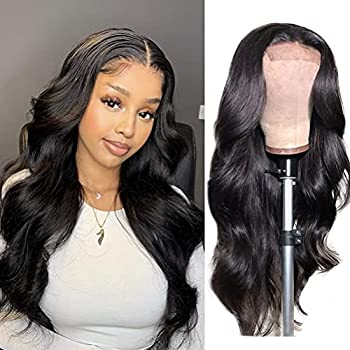 ANNELBEL Human Hair Lace Front Wigs Brazilian Body Wave Lace Front Wigs Human Hair Pre Plucked 150% Density 4x4 Lace Closure Wigs for Black Women Human Hair  24 Inch