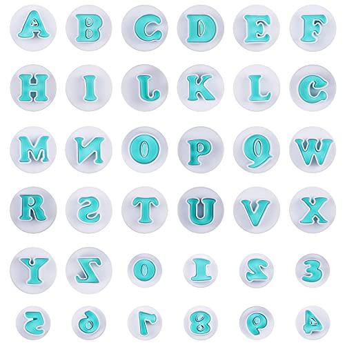 Dreamhigh 36 Pezzi Stampo per Lettere, Numeri Stampini per Biscotti , Lettere Dell'alfabeto per la Decorazione, Della Torta Della Festa di Natale Dell'anniversario (Lettere maiuscole e numeri)