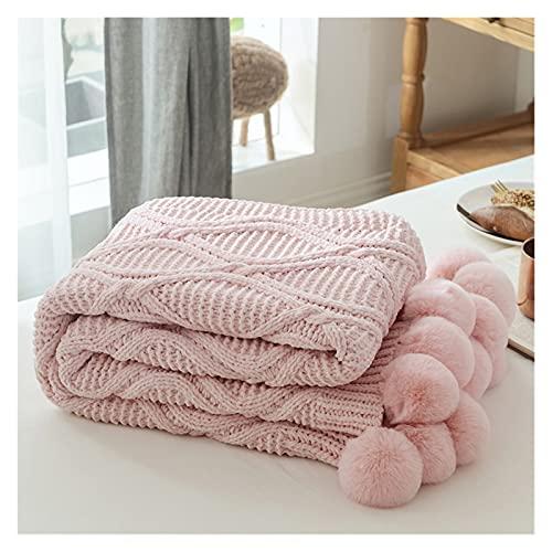 xinyawl Manta De Sofá para Adultos, Manta Suave de Punto Chic, con Crochet, colchas cálidas, mantelas de Tiro Rosa for Cama Sofá Pompom decoración (Color : Pink, Size : 130x160cm)