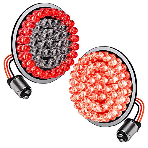 2' 1157 Red Harley Rear LED Turn Signal Tail Brake Light [Pair Set] [Black-Finish] [HALO] [Bullet Style] Turn Signals For Harley Davidson Sportster Street Glide Road King Softail Electra Heritage Dyna