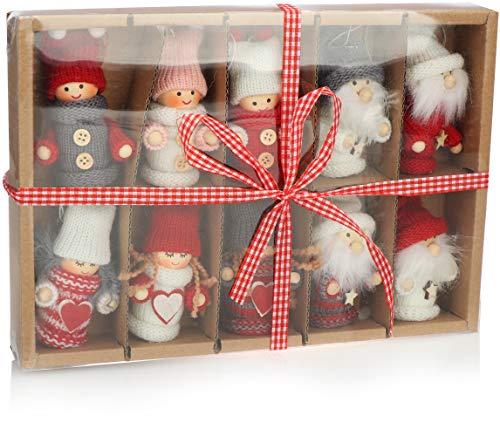 com-four® 10 Colgantes Premium de Papá Noel para el árbol de Navidad, Varios Colgantes de Figuras de árboles de Navidad como Adornos para árboles, Adornos navideños o Etiquetas de Regalo