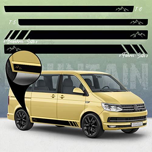 Auto-Dress® Seiten-Streifen Aufkleber Set/Dekor passend für VW T4, T5 & T6 Bus in Wunschfarbe - Motiv: Mountain Silhouette Racing ohne Strich (111M Black Matt, Kurzer Radstand)