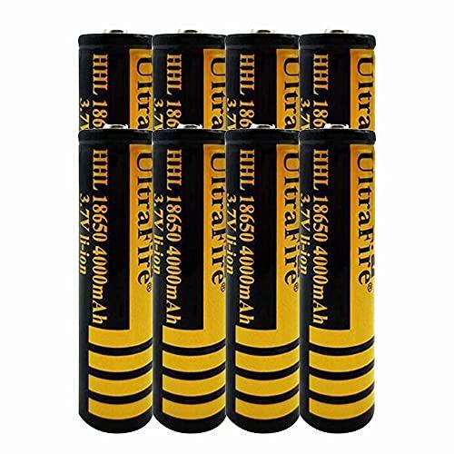 8 pcs 18650 Batería de Litio Recargable 3.7V 4000mAh Baterías de botón de Gran Capacidad para Linterna LED, iluminación de Emergencia, Dispositivos electrónicos, etc.