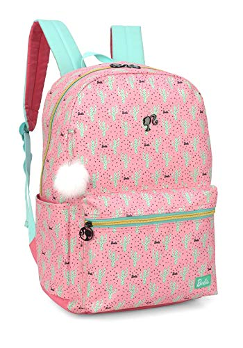Mochila escolar feminina juvenil Barbie pompom branco luxcel 45818 rosa