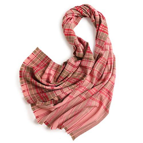 AXIANQIScarf män och kvinnor yllehalsduk rosa pläd tjock varm lång ull pläd varm halsduk rosa mode män och kvinnor yllehalsduk 60 x 205 cm (färg: Rosa, storlek: 60 x 205 cm)