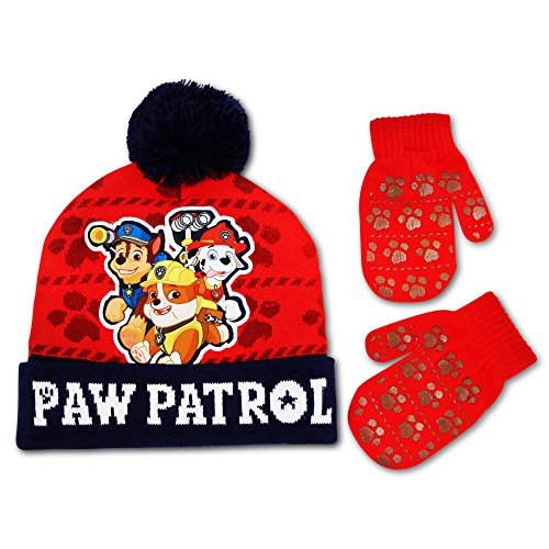 Nickelodeon Toddler Boys Paw Patrol Hat and Mitten Cold Weather Set (Red, Blue)