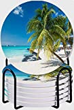CIKYOWAY Posavasos para Bebidas,Cocotero en Playa caribeña Cancún México Juego de 6 Posavasos absorbentes con Soporte de Metal/Fondo de Corcho,para Casa Restaurante Y Bar