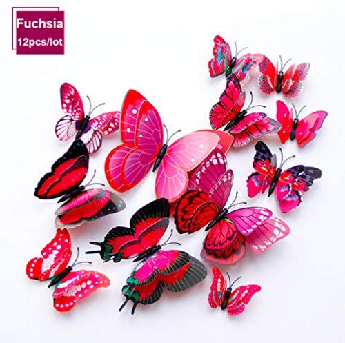 Adesivo Murale Farfalla A Doppio Strato Per La Decorazione Domestica Adesivo Decorativo Adesivo Farfalle Per Magnete Da Frigorifero Per Feste Fucsia