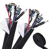 VoJoPi Organizador Cables, 300cm Flexible Funda Cubre Cables de Neopreno +300cm Bridas para Cables,Organizador de Cables de para Recoge TV, PC Cables - Reversible en Blanco y Negro - (∅ 2,5 cm)