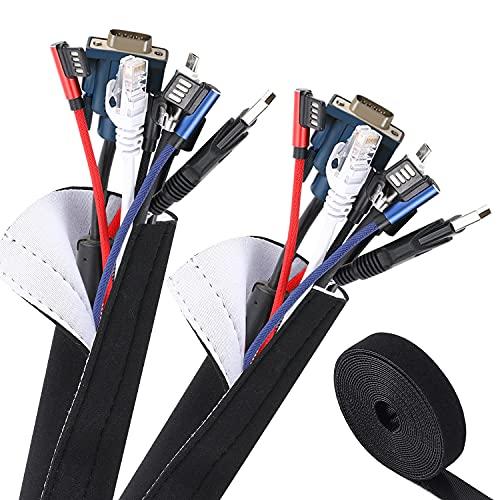 VoJoPi Organizador Cables, 300cm Flexible Funda Cubre Cables de Neopreno +300cm Bridas para Cables, Organizador de Cables de para Recoge TV, PC Cables - Reversible en Blanco y Negro(∅3.5cm)