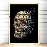 UIOLK Arte de la Pared del cráneo Abstracto Impreso Lienzo Pintura Sala de Estar Dormitorio decoración Imagen Cartel Vintage impresión