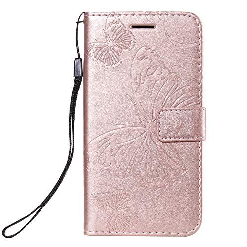 Lomogo Xiaomi Redmi Go Case Leather Wallet Case with Kickstand Card Holder Shockproof Flip Case Cover for Xiaomi Redmi Go - LOKTU090352 Rose Gold