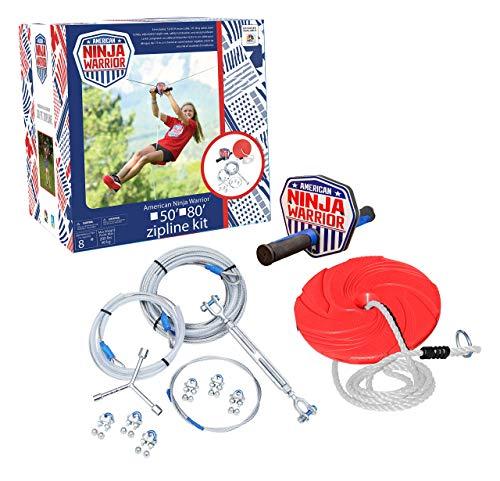 Product Image of the American Ninja Warrior 50 ft Zipline - Kids Zip line Kit - Great Zipline Kit for...