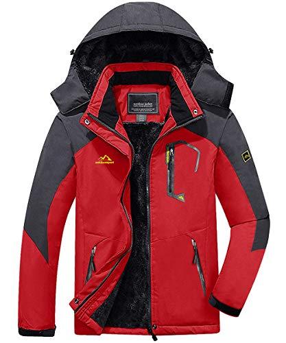 FASKUNOIE Men's Winter Jackets Full Zip Outdoor Thick Water Repellent Clothes Parka Red