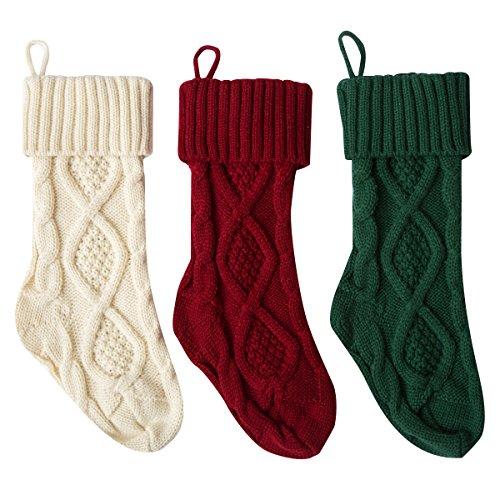 Vanteriam Set of 3 Christmas Knit Knitting Stockings, Ivory White, Burgundy and Green 15 Inch