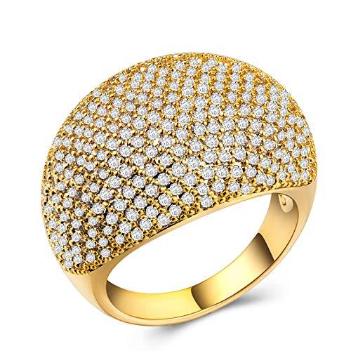 minjiSF Anillo ancho de diamante para mujer, anillo clásico de alta calidad, exquisito, retro, joya de compromiso, anillo de boda, aniversario, regalo (oro, 6)