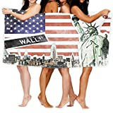 Microfiber Beach Towel 51.2'X31.5' American Flag Decor,NYC Collage with Famous Monuments Wall Street and Manhattan Urban Display,Multi Quick Dry Microfiber Towel Travel Towel Travel Beach Accessories