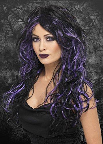- Violet et noir pour Halloween bouclés perruque style gothique mariage