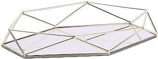 BALANSOHO Metal Mirrored Ornate Decorative Tray Rose-Gold Luxury Three-Dimensional Storage Tray Hexagonal Desktop Nordic Simple Style Cosmetic Jewelry Box Organizer (Gold)