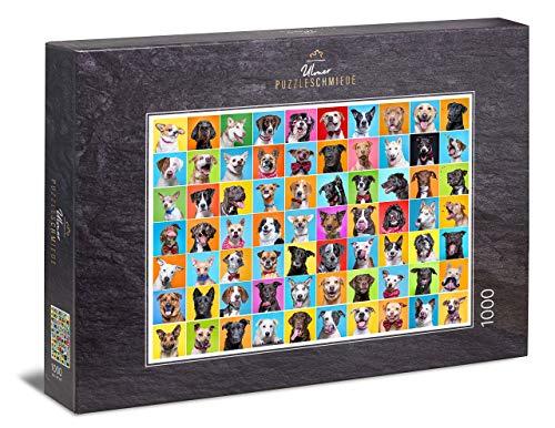 Ulmer Puzzleschmiede - Puzzle Cane Collage - Puzzle 1000 Pezzi - Collage Fotografico con 80 allegri Ritratti di Cani