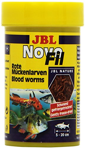 JBL NovoFil 30260, Ergänzungsfutter für wählerische Aquarienfische, Rote Mückenlarven, 100 ml
