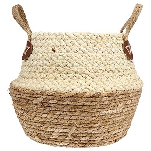 Yardwe Cesta tejida a mano para el vientre con asas, cesta para plantas de agrasos marinos de ratán, cubierta de maceta de mimbre, cesta de escritorio para interiores y exteriores, 22 x 26 cm